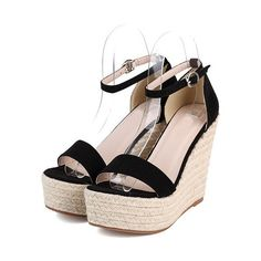 SheIn(sheinside) Black Platform Ankle Strap Wedge Sandles ($32) ❤ liked on Polyvore featuring shoes, sandals, heels, sapatos, black, chaussure, black wedge sandals, black wedge espadrilles, high heel wedge sandals and high heel sandals