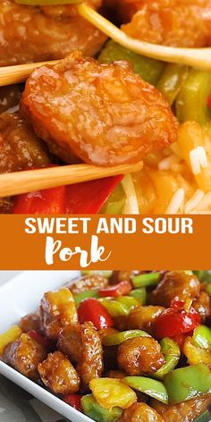 Sweet and Sour Pork - The secret to this popular Chinese recipe is in the sweet tangy sauce. Learn how to make easy sweet and sour sauce at home!