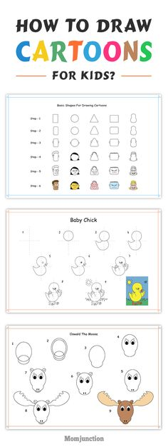 How To Draw Cartoons For Kids? teach the kids how to draw cartoons faces, start with basic shapes.