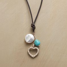 HEALING HEART NECKLACE--Some associate turquoise with healing, and natural freshwater pearls with sincerity. Thai silver heart. Leather