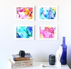 This fired alcohol ink art is so cool! It's easy enough for kids to do and turns out beautiful! Super fun kids' craft. DIY home decor or wall art.