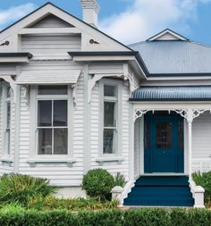 favourite fail-safe combination for a weatherboard home is Taubmans Endure Exterior in January Dawn (walls), Grey Moth (trims) and Elegant Evening (door and stairs). Exterior Color Schemes, House Color Schemes, Exterior Paint Colors, Exterior House Colors, Colour Schemes, Paint Colours, White Exterior Houses, House Paint Exterior, Modern Exterior