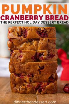 Pumpkin Cranberry Bread is the perfect holiday dessert bread with a moist pumpkin bread base fresh cranberries, orange juice and a hint of ginger. Mini Desserts, Holiday Desserts, Holiday Baking, Holiday Recipes, Delicious Desserts, Christmas Recipes, Christmas Cooking, Fall Recipes, Pumpkin Cranberry Bread