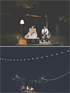 outdoor lighting ideas...I would love a little fire pit at my wedding...in the woods- that would be perfect!