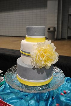 Grey and Yellow Wedding by Amanda's Caketastic Creations, via Flickr