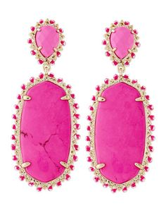 Parsons Clip-On Earrings, Magenta by Kendra Scott at Neiman Marcus.