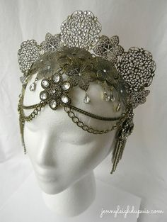 Tribal Fusion inspired filigree headpiece by Jenny Leigh Du Puis, currently for sale on Etsy!