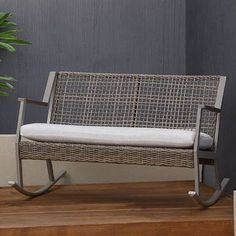 Real Flame Calvin Two-Seat Rocking Bench With Cushion Finish: Gray Double Rocking Chair, Wicker Rocking Chair, Outdoor Rocking Chairs, Swinging Chair, Wicker Porch Swing, Patio Swing, Cafe Chairs, Desk Chairs, Rattan Chairs