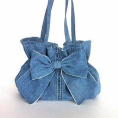 Denim purse , Recycled bow purse - Eco friendly handbag - denim bow bag - up cycled blue jean purse - bag Blue bow cycled Denim Bow Purse, Bow Bag, Denim Purse, Denim Bags From Jeans, Denim Jeans, Denim Handbags, Purses And Handbags, Luxury Handbags, Cheap Handbags