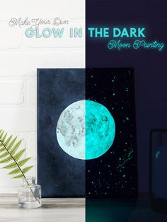 Moon Painting, Galaxy Painting, Simple Wall Art, Diy Wall Art, Dark Paintings, Acrylic Paintings, Acrylic Art, Glow Paint, Christmas Paintings On Canvas