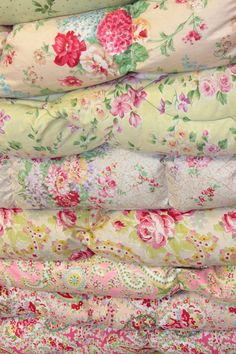 A sumptuous pile of vintage quilts