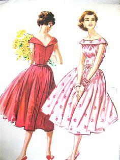 Ungeschnittene Vintage 50er Jahre Schnittmuster von McCalls 4471. Büste ist 32 Zoll