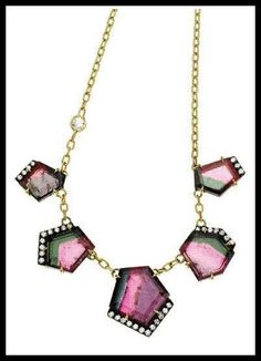 Jemma Wynne Geometric Watermelon Tourmaline Necklace. Via Diamonds in the Library's jewelry gift guide.