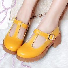 Caliente venta nuevo plataforma Mary Janes Pumps punta redonda grande del  tamaño 34 43 hebilla correa mujeres Med tacones gruesos otoño zapatos  femeninos de ...