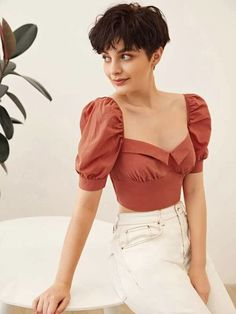 To find out about the Premium Foldover Front Shirred Crop Milkmaid Top at SHEIN, part of our latest Blouses ready to shop online today! Summer Outfits, Casual Outfits, Cute Outfits, Girl Fashion, Fashion Outfits, Fashion Design, Aesthetic Clothes, Blouse Designs, Korean Fashion