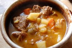 "One Pot Rustic Beef Stew--Rustic and hearty, this stew features a flavorful ""gravy"", thick cut veggies, and tender meat. Crockpot Recipes, Soup Recipes, Cooking Recipes, Recipies, Boiled Dinner, Soup Kitchen, Warm Food, Entree Recipes, Beef Dishes"