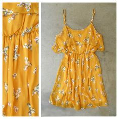 Yellow Floral Print Dress <3