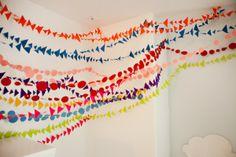 6th Street Design School   Kirsten Krason Interiors : Our Land of Nod Playroom...stringing colorful felt garland for O's room
