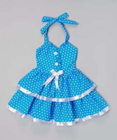 Take a look at the Lele for Kids Blue & White Polka Dot Halter Dress - Toddler & Girls on #zulily today! This dress is darling