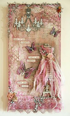 Shabby chic Altered Canvas, Altered Art, Altered Tins, Mixed Media Collage, Mixed Media Canvas, Paper Art, Paper Crafts, Diy Crafts, Handmade Crafts