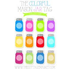 Free Colorful Mason Jar Tag Collection Free Printable