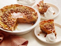 Apple-Pumpkin-Pecan Pie - Gone are the days when you have to decide whether you want a slice of apple, pumpkin or pecan pie. Instead of playing favorites, this crazy-good pie mash-up brings the best of each into one showstopping pie with a gooey pecan bottom, sweet-and-tart apple edge and creamy pumpkin center.