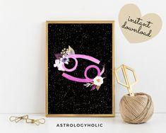 Cancer, Zodiac Printable, Astrology Wall Art, Star Sign, Birthday gift, Floral Print, Constellation, Digital Download Leo Zodiac, Astrology Zodiac, International Paper Sizes, Constellations, Birthday Gifts, Cancer, Floral Prints, Printables, Colours