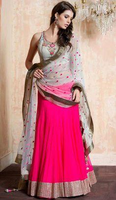 Magenta net party wear Designer lehenga choli