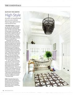 Fenwick Pendant from Currey & Company boasts an industrial feel. Wrought iron plays a huge part in this tough chain lighting. Tiered layers offer  an otherworldly effect.  As seen in House Beautiful magazine.