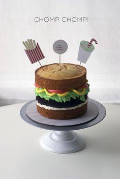 Burger Time! A Burger Cake Photo Tutorial   Coco Cake Land