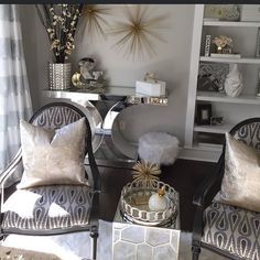 "Home Decor Inspiration on Instagram: ""Finalizing my office space and I'm so excited to share with you all the final result. Tap the picture for sources. The theme I went with is gray, silver, gold with a pop of black glam."""
