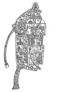 The Gigantic Robot, Innerds by Tom Gauld : Preliminary Sketch.