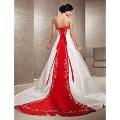 Wedding Dress A Line Chapel Train Satin Strapless With Embroidery Beading – AUD $ 220.79
