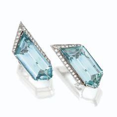 Pair of Aquamarine and Diamond Earclips - Tony Duquette