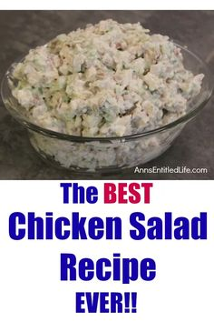 This is the BEST chicken salad recipe EVER! There is no way to describe how good this chicken salad is – you will have to make it and see. Believe me when I say this chicken salad is simply delicious. Best Chicken Salad Recipe, Chicken Recipes, Chicken Salads, Rotisserie Chicken Salad, Chicken Salad Sandwiches, Healthy Chicken, Chicken Salad Recipe With Sour Cream And Mayo, Chicken Salad Wraps, Chicken Potato Salad