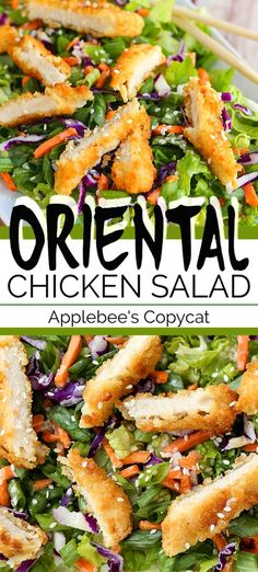 This ORIENTAL CHICKEN SALAD is an Applebee's copycat recipe. A tasty crispy chic… This ORIENTAL CHICKEN SALAD is an Applebee's copycat recipe. A tasty crispy chicken salad with a homemade asian inspired dressing – so fresh, delicious and good for you! Crispy Chicken Salads, Chicken Salad Recipes, Beef Recipes, Cooking Recipes, Healthy Recipes, Salad Chicken, Asian Recipes, Crispy Chicken Burgers, Chicken Dressing