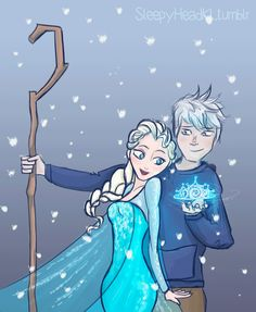 A Crown for His Queen - Elsa and Jack Frost by SleepyHeadKL