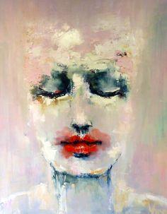 Expressionistisch: er zit veel expressie in dit schilderij, de rode lippen springen eruit en er zit veel gevoel in dit schilderij. het ziet er heel zielig uit.