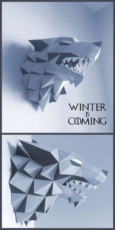 Direwolf Stark - Game of Thrones http://www.deviantart.com/art/Stark-Direwolf-Sigil-Papercraft-566206042