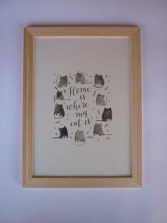 """Affiche à imprimer """"Home is where my cat is"""" : Décorations murales par sophie-p"""