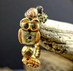 Bohemian lampwork bracelet......... owl by DeniseAnnette on Etsy