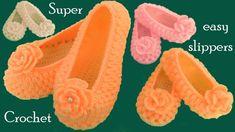 Como tejer zapatos pantuflas a Gancho Crochet tamaño adulto tejido talle...