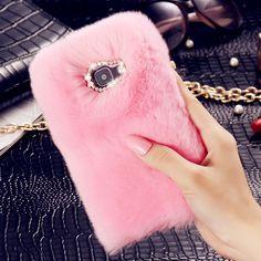 Pelo de piel de conejo de lujo cajas del teléfono para samsung galaxy a3 a5 a7 J2 J3 J5 J7 2016 Mujeres Volver Casos de la Cubierta de Bling Diamante de La Moda