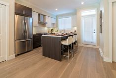 What is Hybrid Flooring?  You can read about it in this Karma Flooring Blog!  And the kitchen looks divine 😊 Waterproof Flooring, Karma, Floors, Bathrooms, Kitchen, Table, Blog, Inspiration, Furniture