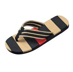 3b7c0a4224ec2a Tefamore Men Summer Stripe Flops Shoes Sandals Male Slipper (9