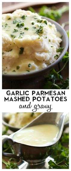 Garlic Parmesan Mashed Potatoes and Gravy Garlic Parmesan Mashed Potatoes and Gravy from chef-in- .The flavor of these potatoes is outstanding and the gravy is equally amazing! This is the perfect side dish for almost any meal! Gravy For Mashed Potatoes, Parmesan Mashed Potatoes, Garlic Parmesan, Cheesy Potatoes, Baked Potatoes, Roasted Garlic, Potato Dishes, Food Dishes, Side Dishes