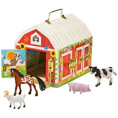 Unhook the latches to open the barn doors and see who is inside, then close the doors and buckle up the barn again!  This beautifully crafted sturdy wooden Latches Barn is brightly painted both inside and out. Ages 3 to 6 years.