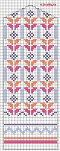Latvisk Vott 4 Knitted Mittens Pattern, Fair Isle Knitting Patterns, Knit Mittens, Knitting Charts, Knitting Stitches, Knitting Socks, Cross Stitch Embroidery, Cross Stitch Patterns, Diagram Chart