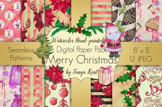 Merry Christmas Digital Paper Pack by Tanya Kart on @creativemarket