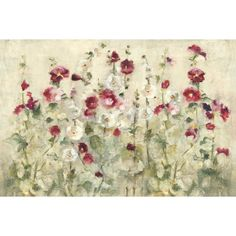 iCanvas Hollyhocks Row Cool Gallery Wrapped Canvas Art Print by Cheri Blum Cool Paintings, Painting Frames, Painting Prints, Art Prints, Fabric Painting, Canvas Artwork, Canvas Prints, Hollyhock, New Wall